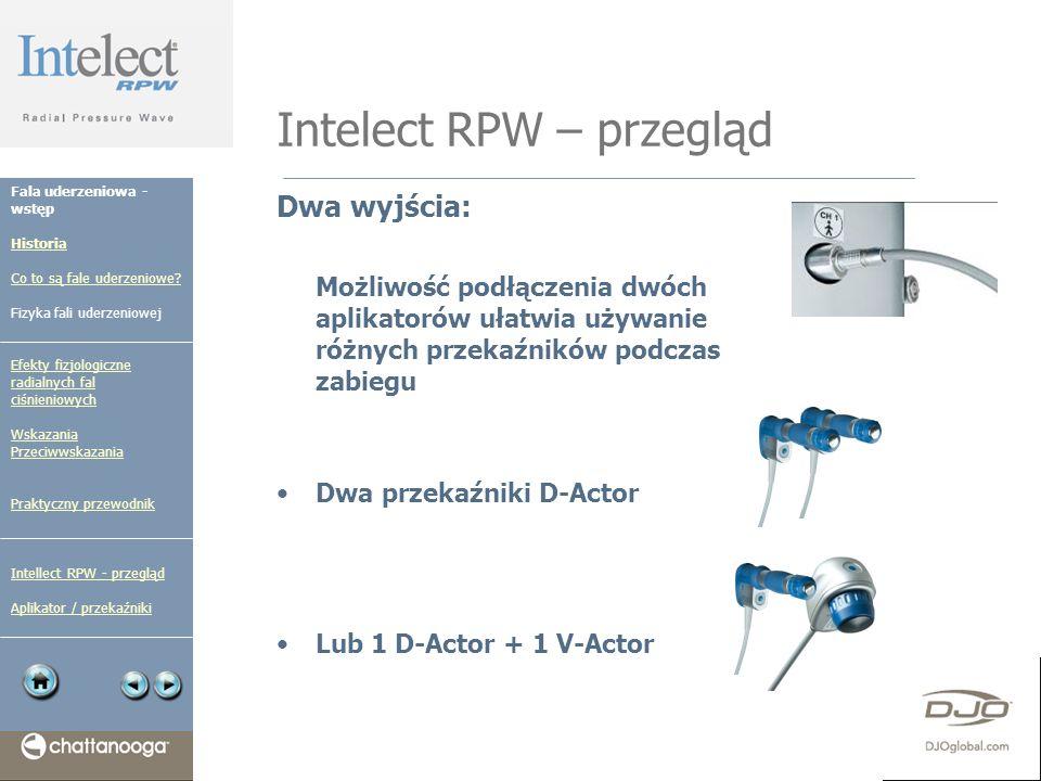 Intelect RPW – przegląd Dwa wyjścia: Możliwość podłączenia dwóch aplikatorów ułatwia używanie różnych przekaźników podczas zabiegu Dwa przekaźniki D-A