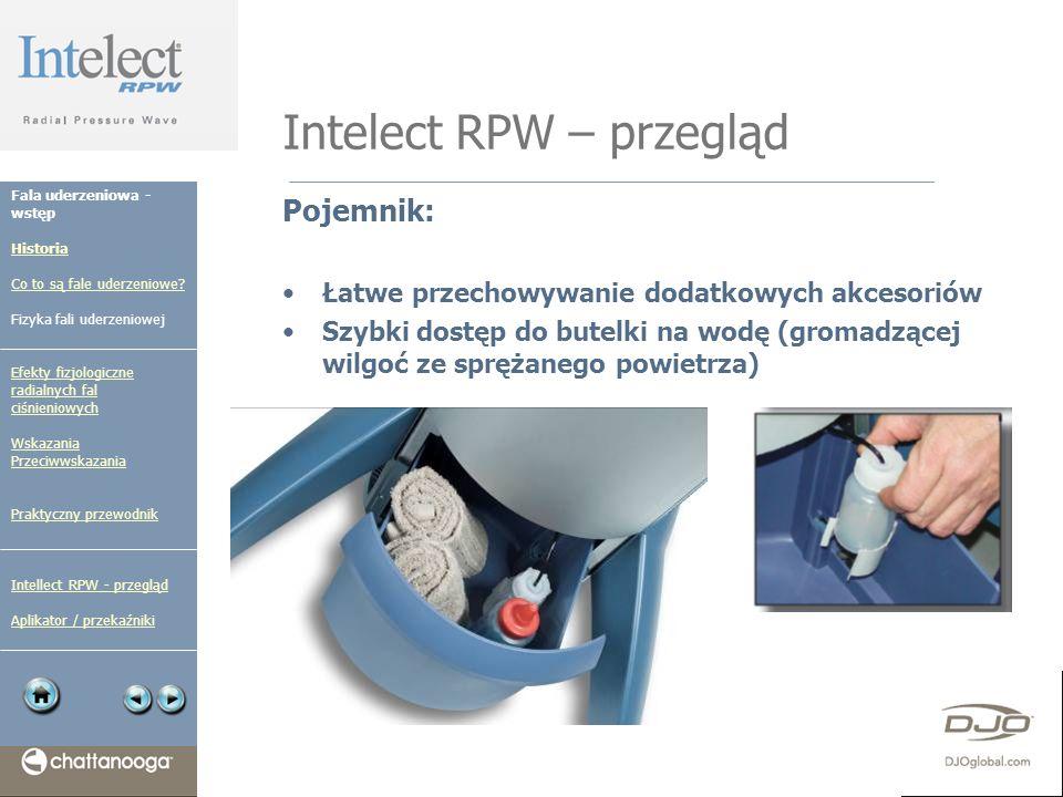 Intelect RPW – przegląd Pojemnik: Łatwe przechowywanie dodatkowych akcesoriów Szybki dostęp do butelki na wodę (gromadzącej wilgoć ze sprężanego powie