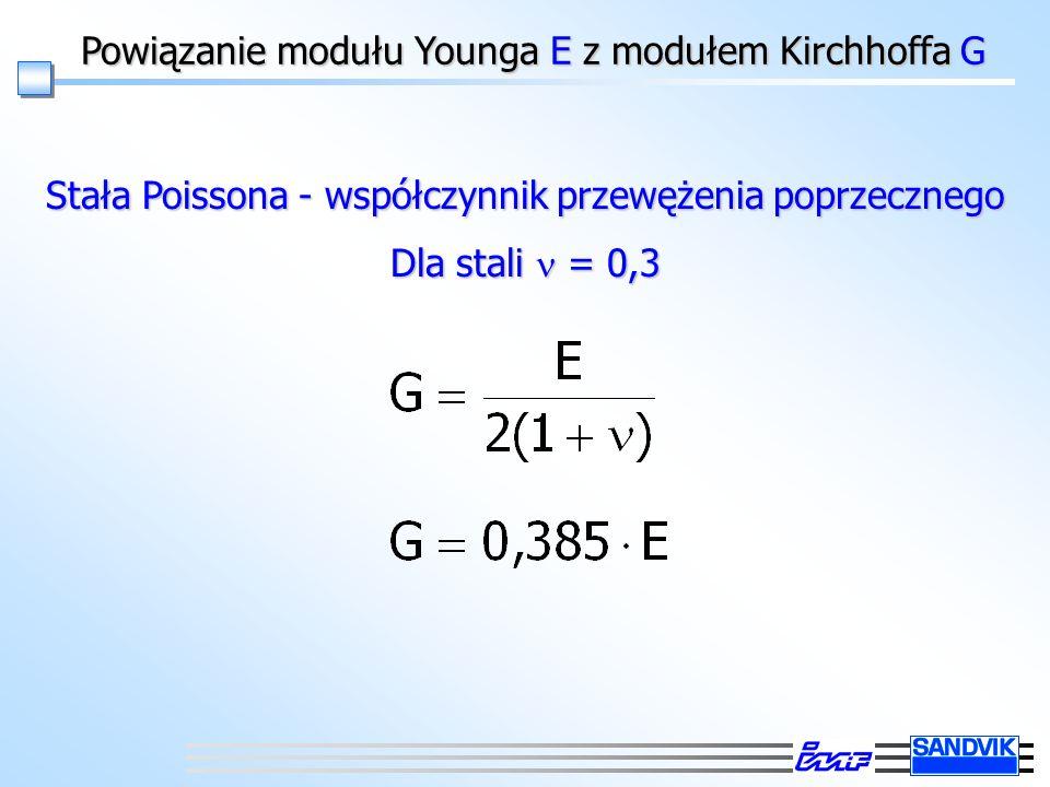 Powiązanie modułu Younga E z modułem Kirchhoffa G Stała Poissona - współczynnik przewężenia poprzecznego Dla stali = 0,3