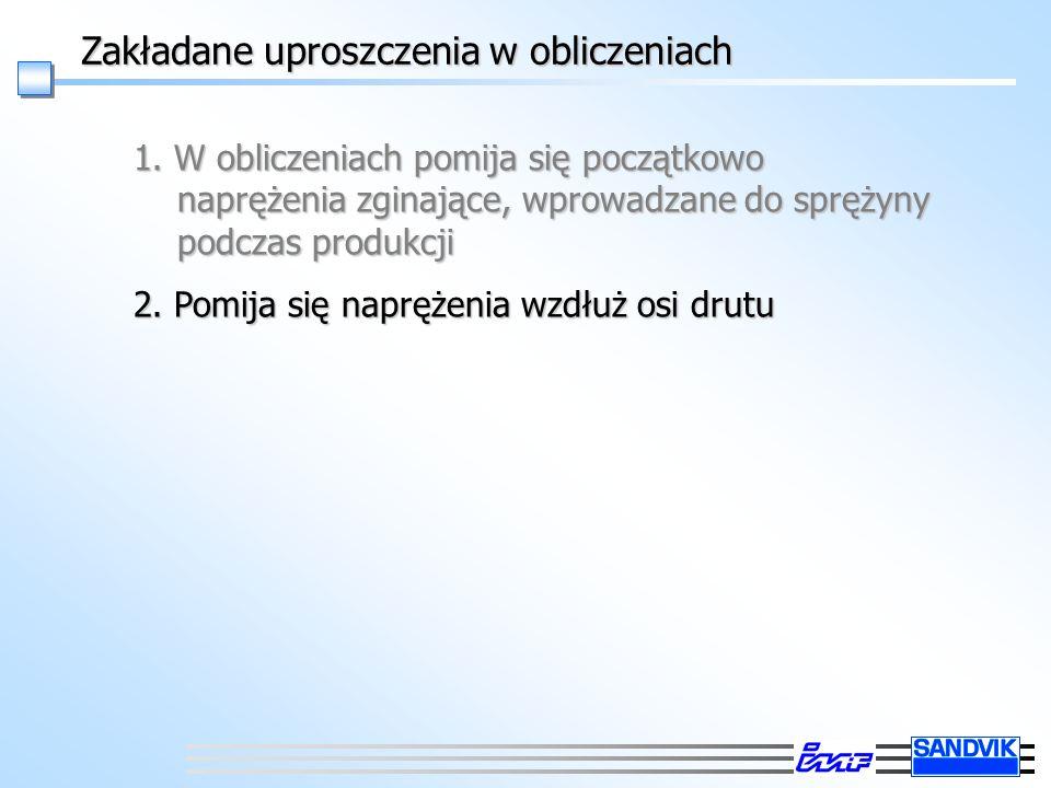 Zakładane uproszczenia w obliczeniach 1. W obliczeniach pomija się początkowo naprężenia zginające, wprowadzane do sprężyny podczas produkcji 2. Pomij