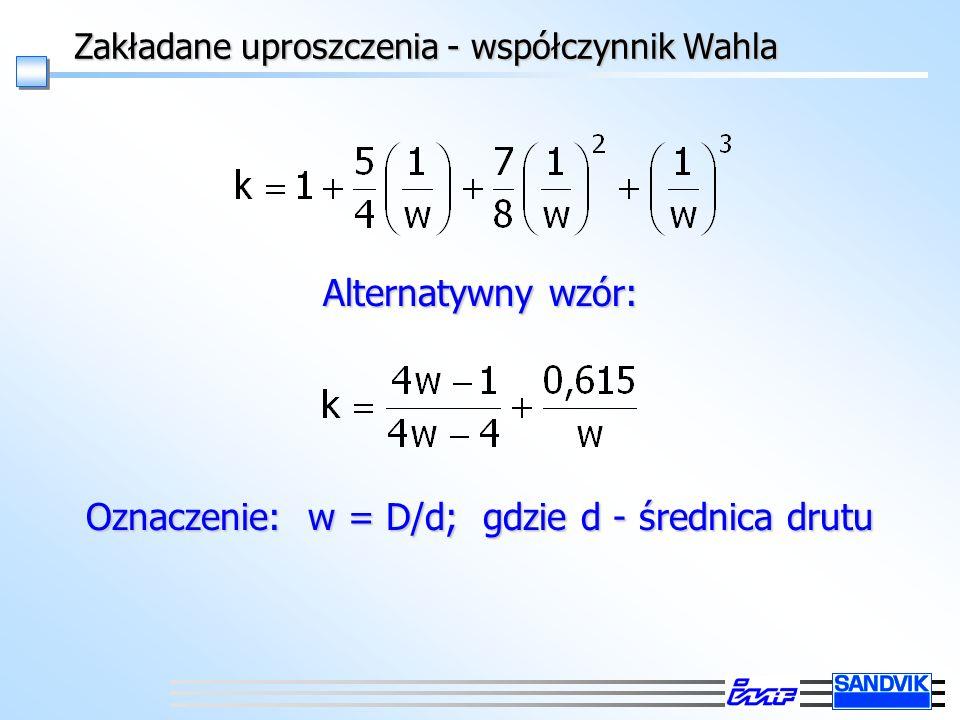 Zakładane uproszczenia - współczynnik Wahla Alternatywny wzór: Oznaczenie: w = D/d; gdzie d - średnica drutu
