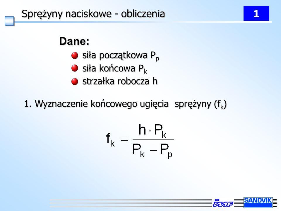 Sprężyny naciskowe - obliczenia 1 Dane: siła początkowa P p siła początkowa P p siła końcowa P k siła końcowa P k strzałka robocza h strzałka robocza