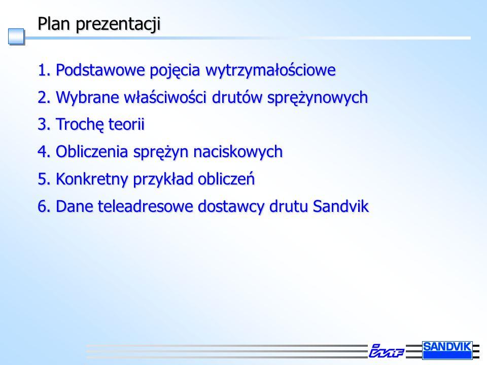 Plan prezentacji 1.Podstawowe pojęcia wytrzymałościowe 2.Wybrane właściwości drutów sprężynowych 3.Trochę teorii 4.Obliczenia sprężyn naciskowych 5.Konkretny przykład obliczeń 6.Dane teleadresowe dostawcy drutu Sandvik