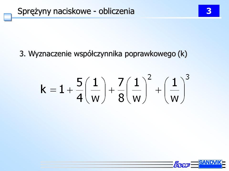 Sprężyny naciskowe - obliczenia 3 3. Wyznaczenie współczynnika poprawkowego (k)
