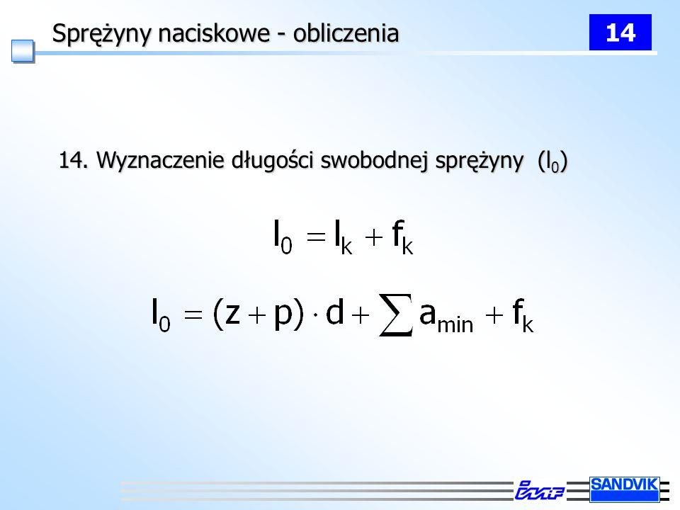 Sprężyny naciskowe - obliczenia 14 14. Wyznaczenie długości swobodnej sprężyny (l 0 )