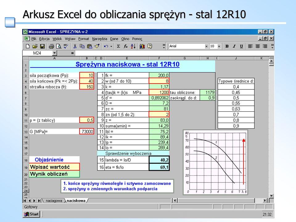 Arkusz Excel do obliczania sprężyn - stal 12R10