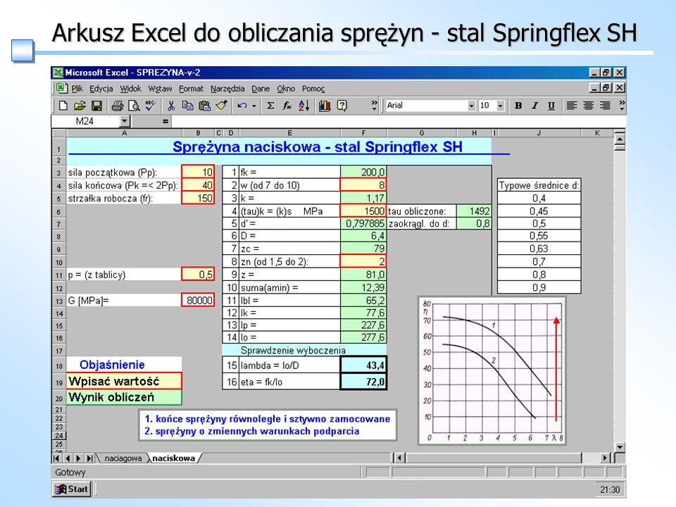Arkusz Excel do obliczania sprężyn - stal Springflex SH