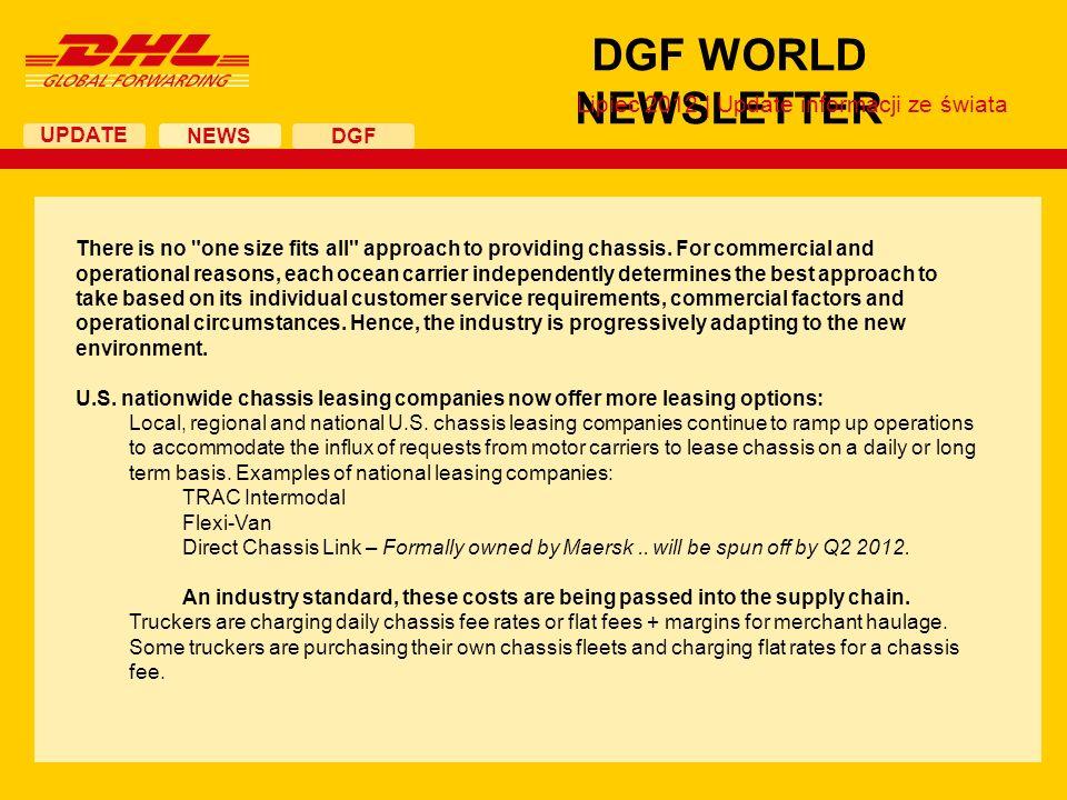 UPDATE DGF WORLD NEWSLETTER NEWS DGF Lipiec 2012 | Update informacji ze świata There is no
