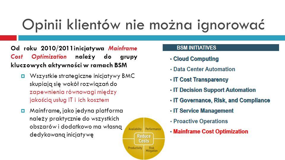 Opinii klientów nie można ignorować Od roku 2010/2011inicjatywa Mainframe Cost Optimization należy do grupy kluczowych aktywności w ramach BSM Wszystk