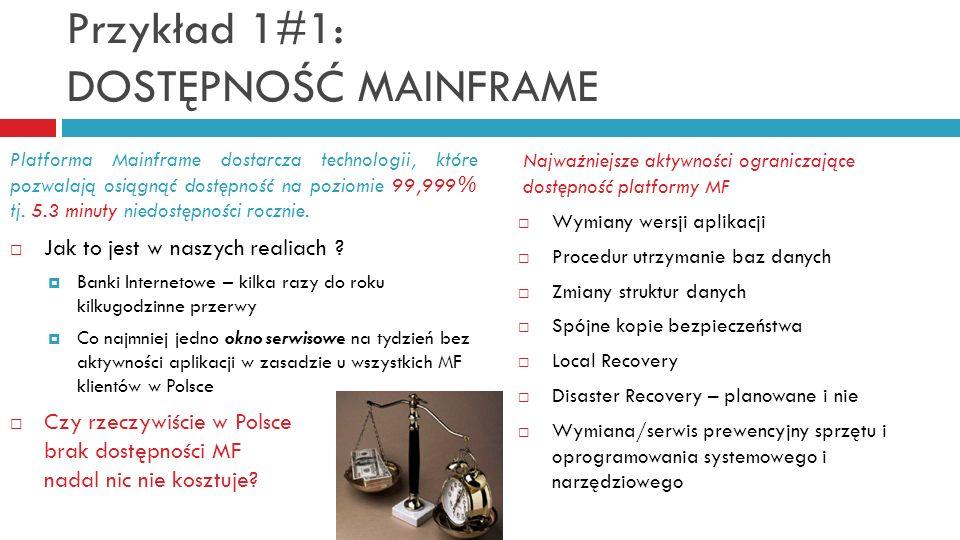 Przykład 1#1: DOSTĘPNOŚĆ MAINFRAME Najważniejsze aktywności ograniczające dostępność platformy MF Wymiany wersji aplikacji Procedur utrzymanie baz dan