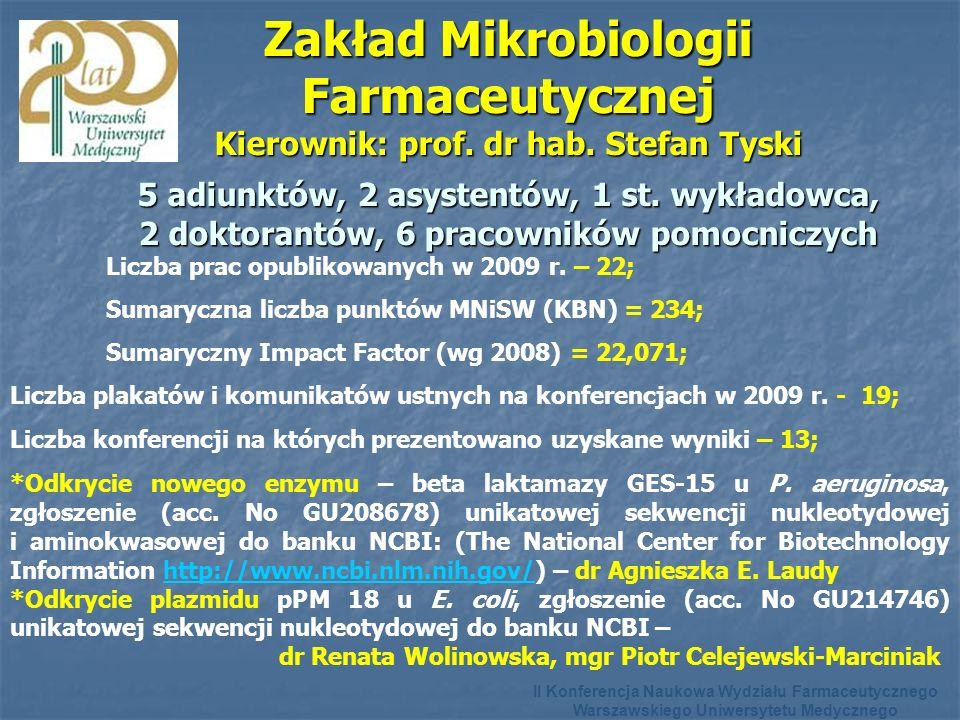 Zakład Mikrobiologii Farmaceutycznej Kierownik: prof.