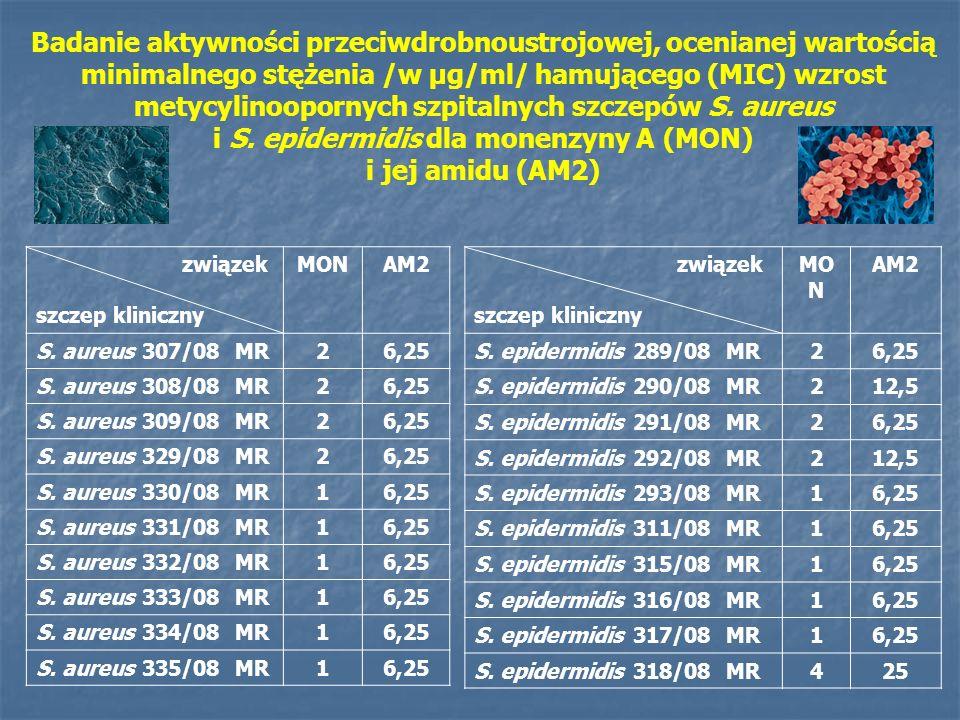 związek szczep kliniczny MO N AM2 S.epidermidis 289/08 MR26,25 S.