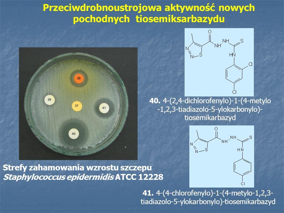 Przeciwdrobnoustrojowa aktywność nowych pochodnych tiomocznika DBr3A N-(2-bromofenyl)-N -(1-izopropyl-7- methyl-3,5-diokso-4- azatricyklo[5.2.2.02,6]undek-8-en- 4-yl)tiomocznik Strefy zahamowania wzrostu szczepu Staphylococcus aureus ATCC 29213