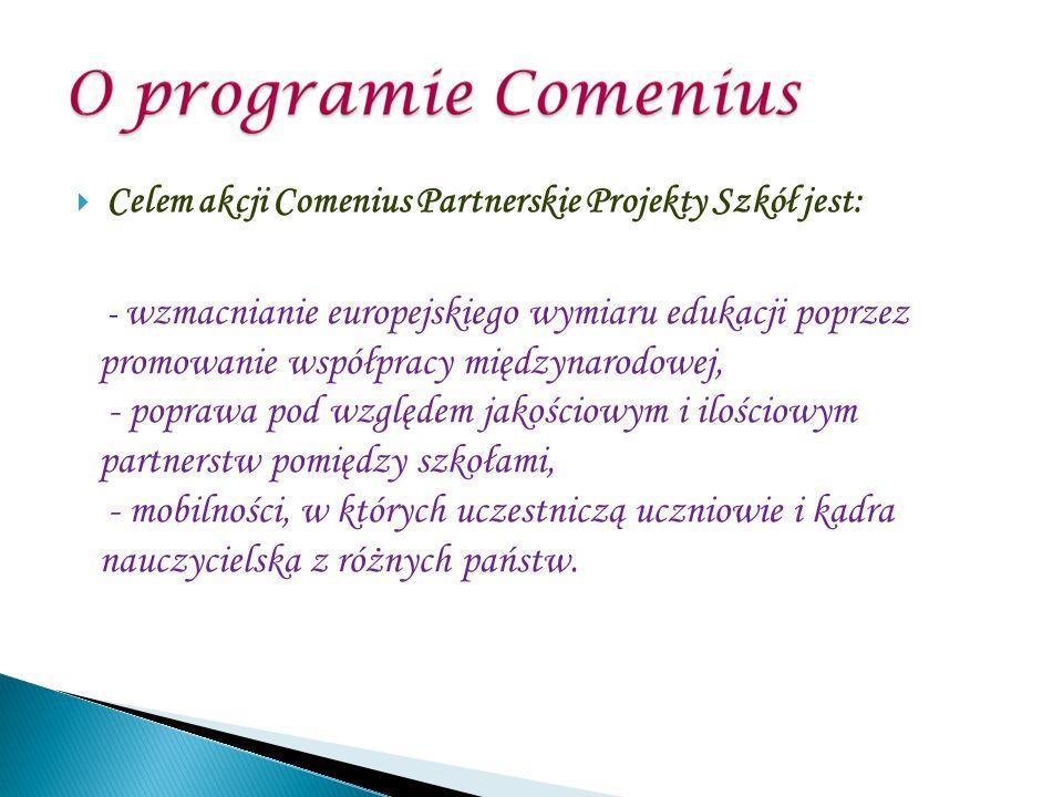 Celem akcji Comenius Partnerskie Projekty Szkół jest: - wzmacnianie europejskiego wymiaru edukacji poprzez promowanie współpracy międzynarodowej, - poprawa pod względem jakościowym i ilościowym partnerstw pomiędzy szkołami, - mobilności, w których uczestniczą uczniowie i kadra nauczycielska z różnych państw.