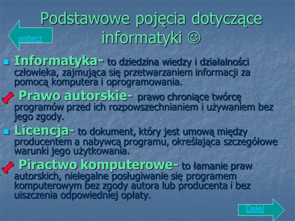 Podstawowe pojęcia dotyczące informatyki Podstawowe pojęcia dotyczące informatyki Informatyka - to dziedzina wiedzy i działalności człowieka, zajmując