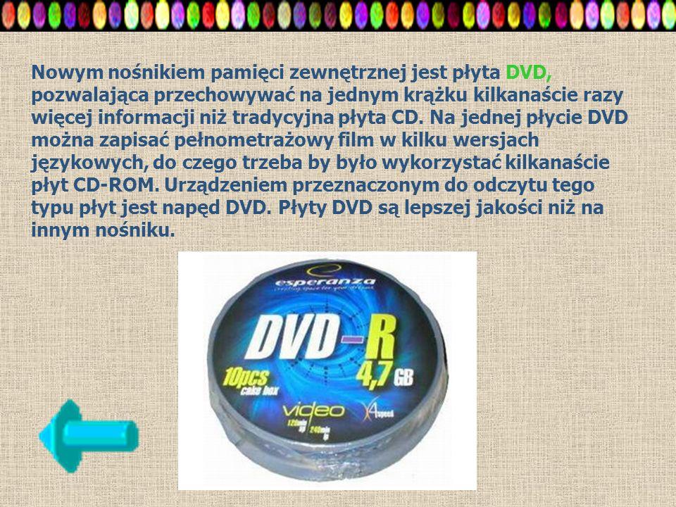 Nowym nośnikiem pamięci zewnętrznej jest płyta DVD, pozwalająca przechowywać na jednym krążku kilkanaście razy więcej informacji niż tradycyjna płyta