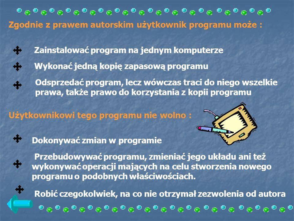 Zgodnie z prawem autorskim użytkownik programu może : Zainstalować program na jednym komputerze Wykonać jedną kopię zapasową programu Odsprzedać progr
