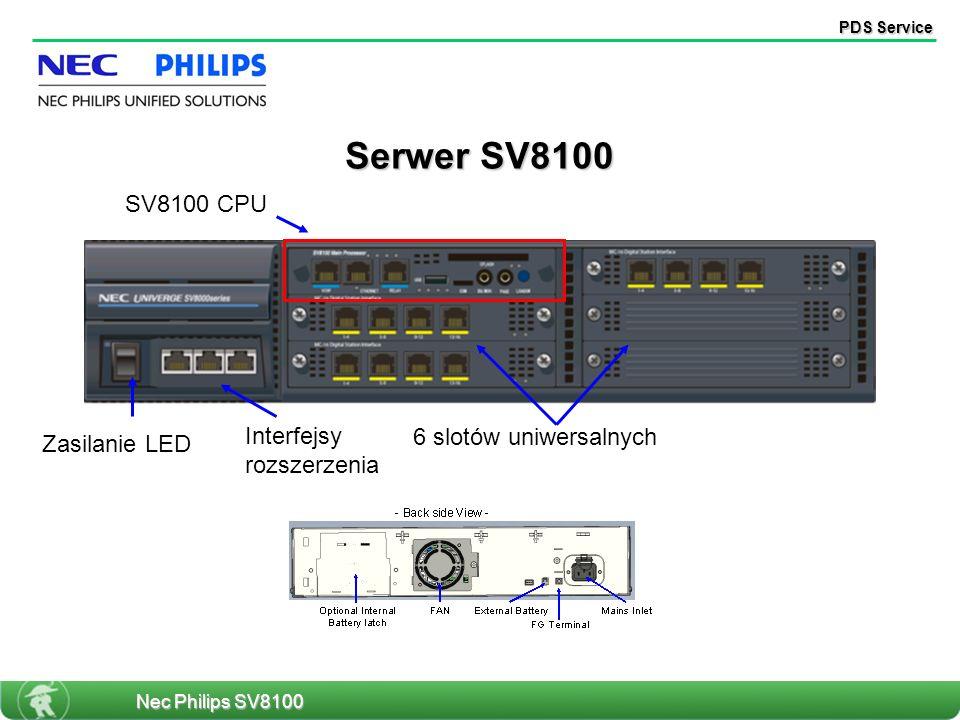 PDS Service 6 slotów uniwersalnych Zasilanie LED Interfejsy rozszerzenia SV8100 CPU Serwer SV8100 Nec Philips SV8100