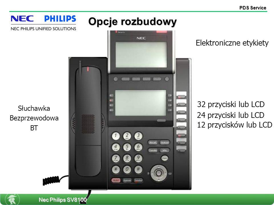 PDS Service 12 przycisków lub LCD Elektroniczne etykiety Słuchawka Bezprzewodowa BT 24 przyciski lub LCD 32 przyciski lub LCD Opcje rozbudowy Nec Philips SV8100