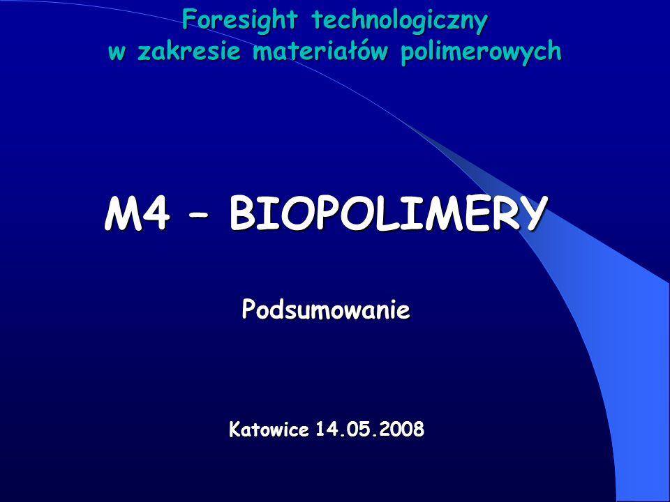 M4 – BIOPOLIMERY Podsumowanie Katowice 14.05.2008 Foresight technologiczny w zakresie materiałów polimerowych