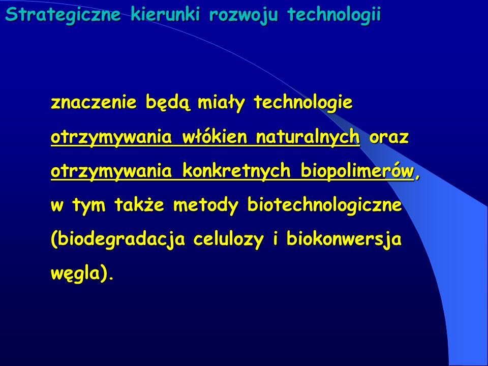 Strategiczne kierunki rozwoju technologii znaczenie będą miały technologie otrzymywania włókien naturalnych oraz otrzymywania konkretnych biopolimerów