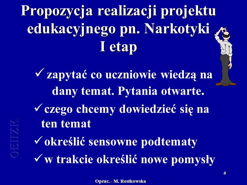 Oprac. - M. Rostkowska OEiiZK 6 Propozycja realizacji projektu edukacyjnego pn.