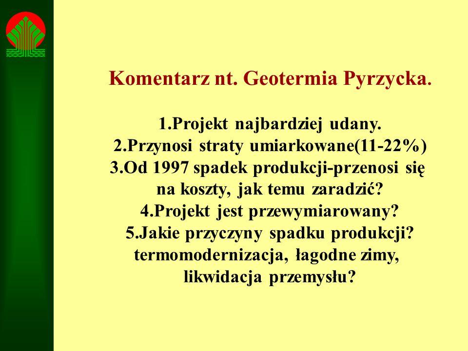 Komentarz nt. Geotermia Pyrzycka. 1.Projekt najbardziej udany. 2.Przynosi straty umiarkowane(11-22%) 3.Od 1997 spadek produkcji-przenosi się na koszty