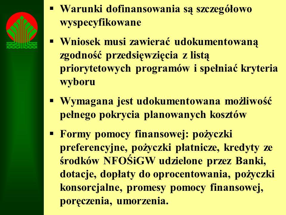 Warunki dofinansowania są szczegółowo wyspecyfikowane Wniosek musi zawierać udokumentowaną zgodność przedsięwzięcia z listą priorytetowych programów i
