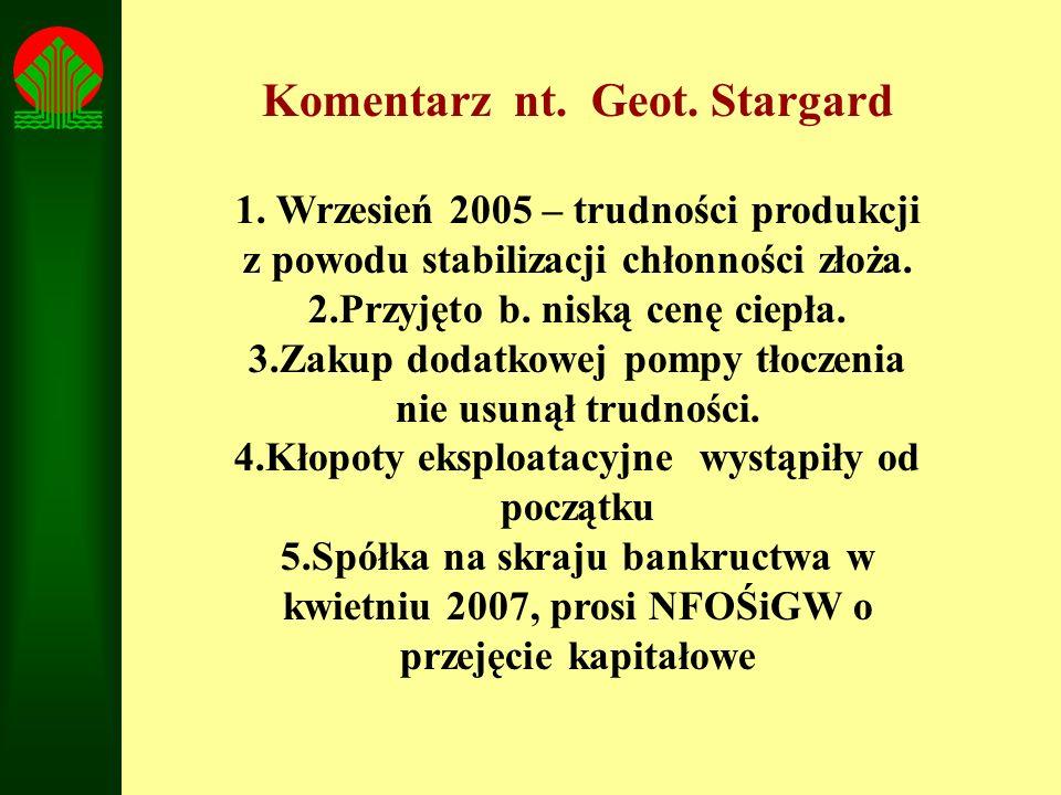Komentarz nt. Geot. Stargard 1. Wrzesień 2005 – trudności produkcji z powodu stabilizacji chłonności złoża. 2.Przyjęto b. niską cenę ciepła. 3.Zakup d