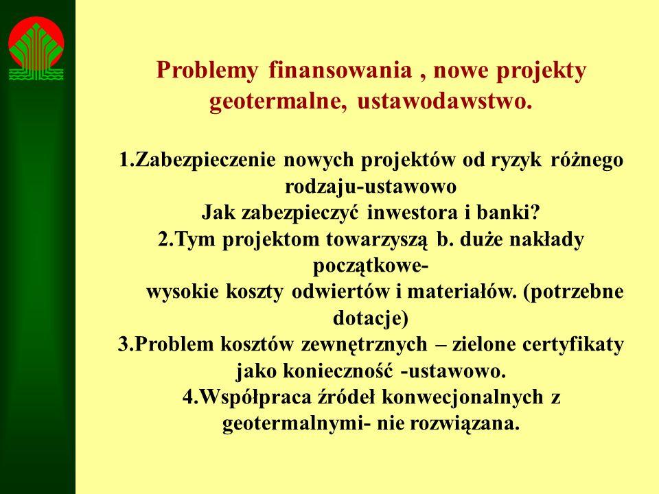 Problemy finansowania, nowe projekty geotermalne, ustawodawstwo. 1.Zabezpieczenie nowych projektów od ryzyk różnego rodzaju-ustawowo Jak zabezpieczyć