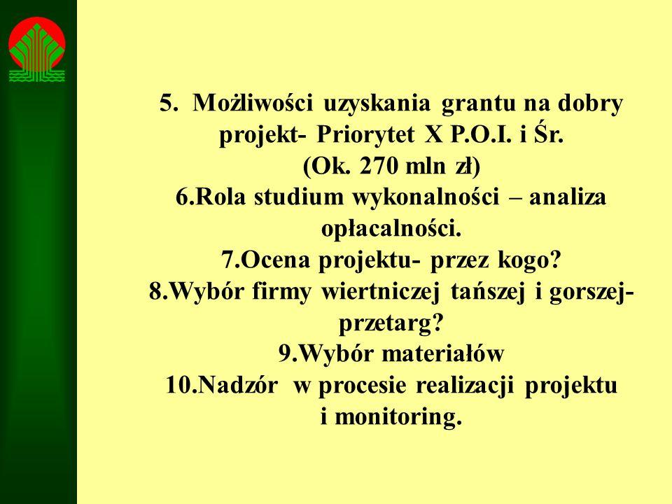 5. Możliwości uzyskania grantu na dobry projekt- Priorytet X P.O.I. i Śr. (Ok. 270 mln zł) 6.Rola studium wykonalności – analiza opłacalności. 7.Ocena