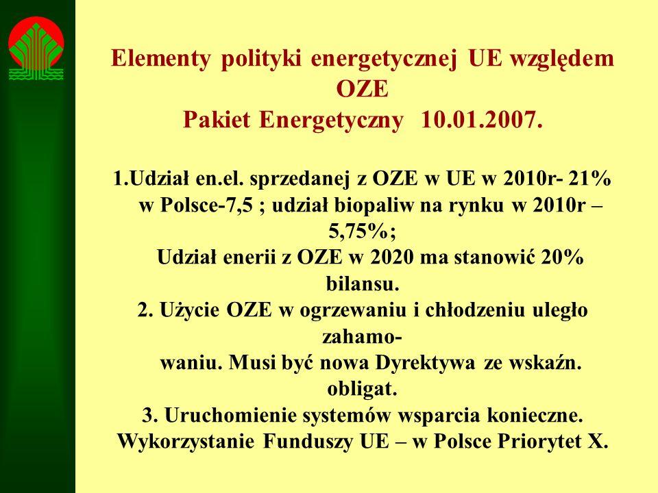 Elementy polityki energetycznej UE względem OZE Pakiet Energetyczny 10.01.2007. 1.Udział en.el. sprzedanej z OZE w UE w 2010r- 21% w Polsce-7,5 ; udzi