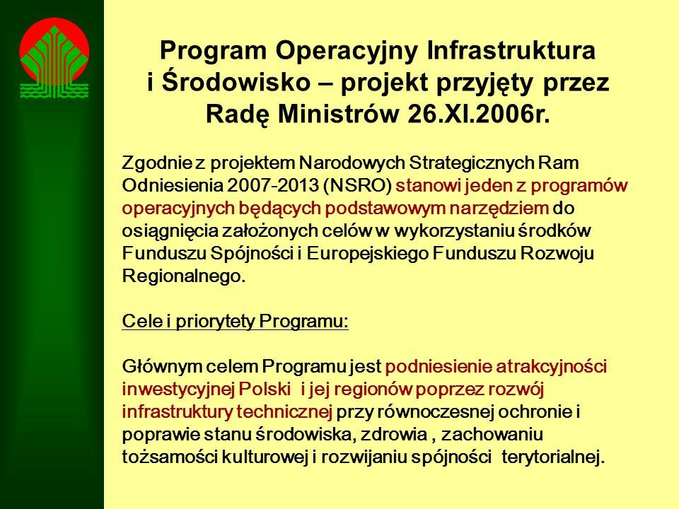 Program Operacyjny Infrastruktura i Środowisko – projekt przyjęty przez Radę Ministrów 26.XI.2006r. Zgodnie z projektem Narodowych Strategicznych Ram