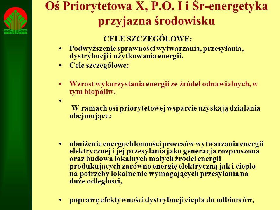 Oś Priorytetowa X, P.O. I i Śr-energetyka przyjazna środowisku CELE SZCZEGÓŁOWE: Podwyższenie sprawności wytwarzania, przesyłania, dystrybucji i użytk