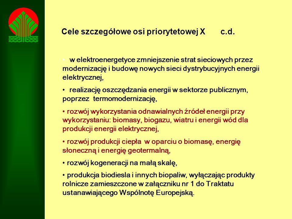 Cele szczegółowe osi priorytetowej X c.d. w elektroenergetyce zmniejszenie strat sieciowych przez modernizację i budowę nowych sieci dystrybucyjnych e