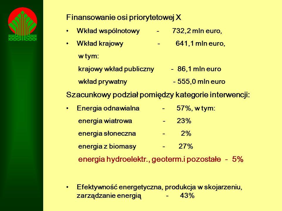 Finansowanie osi priorytetowej X Wkład wspólnotowy - 732,2 mln euro, Wkład krajowy - 641,1 mln euro, w tym: krajowy wkład publiczny - 86,1 mln euro wk