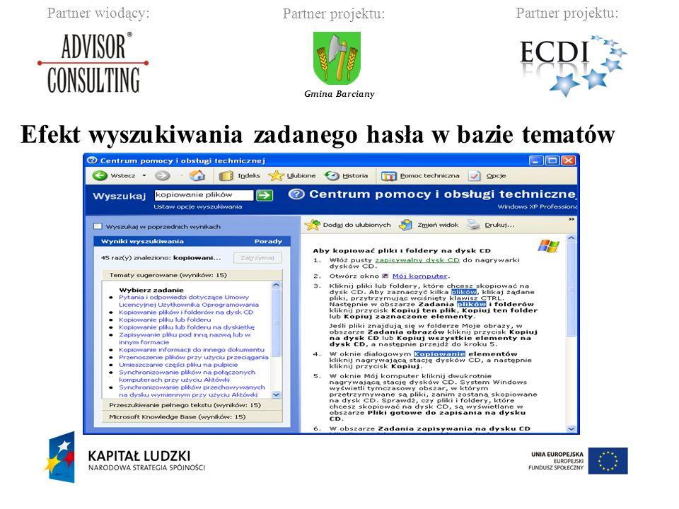 Partner wiodący:Partner projektu: Gmina Barciany Efekt wyszukiwania zadanego hasła w bazie tematów