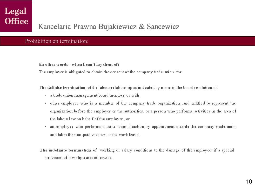 Prohibition on termination: Kancelaria Prawna Bujakiewicz & Sancewicz 10