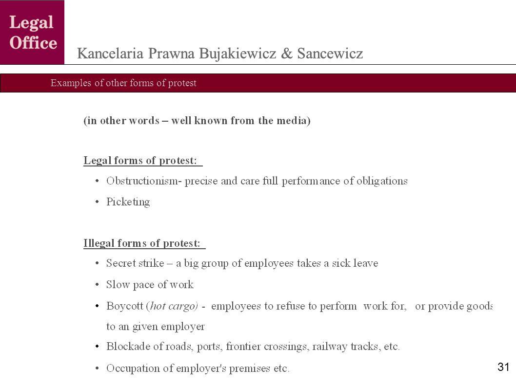 Examples of other forms of protest Kancelaria Prawna Bujakiewicz & Sancewicz 31