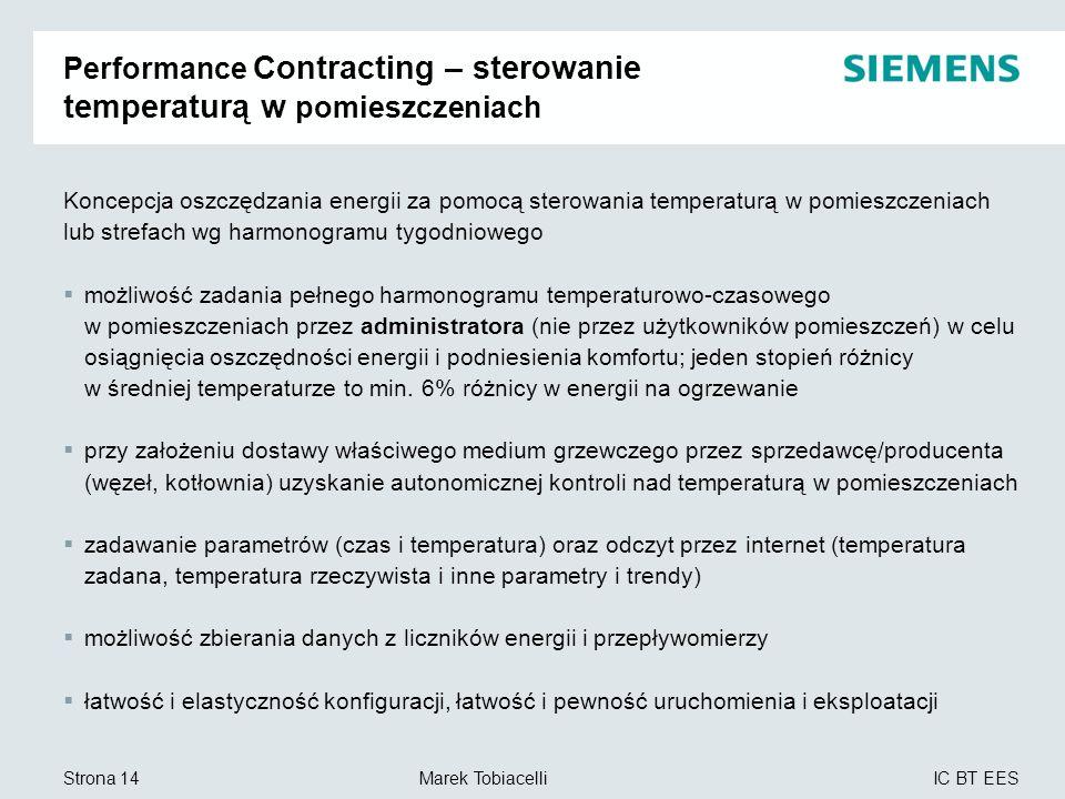 IC BT EES Marek TobiacelliStrona 14 Performance Contracting – sterowanie temperaturą w pomieszczeniach Koncepcja oszczędzania energii za pomocą sterow
