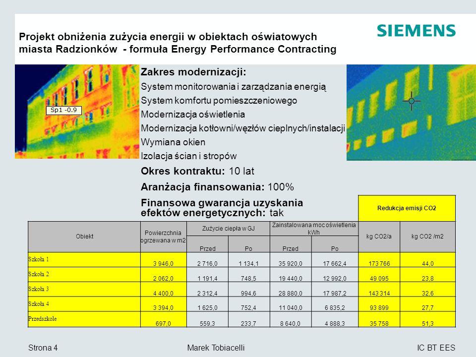 IC BT EES Marek TobiacelliStrona 5 Zdalne Zarządzanie Energią CoMo Topologia centralna Operator Centrum Zarządzania i Monitoringu Energii (AOC) Siemens cRSP/EMC platforma Siemens Intranet internet Podłączenie:16 jednostek Bezpieczeństwo Danych Połączenie pomiędzy platformą cRSP Siemens a poszczególnymi użytkownik UM Zdalny dostęp via EMC Siemens firewall obiektami internet zabezpiecza VPN i https