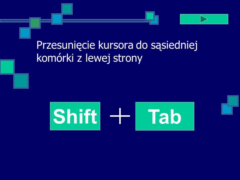 Przesunięcie kursora do sąsiedniej komórki z lewej strony Shift Tab