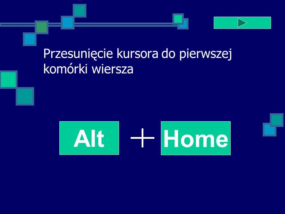 Przesunięcie kursora do pierwszej komórki wiersza Alt Home