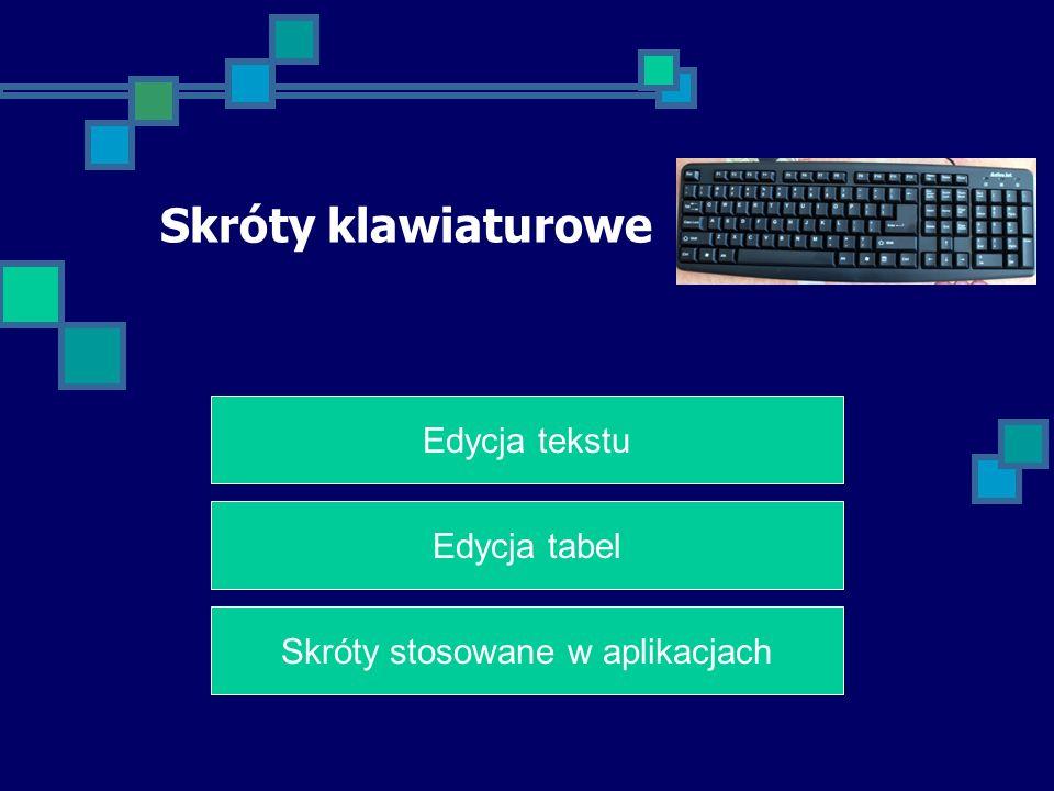 Skróty klawiaturowe Edycja tekstu Edycja tabel Skróty stosowane w aplikacjach