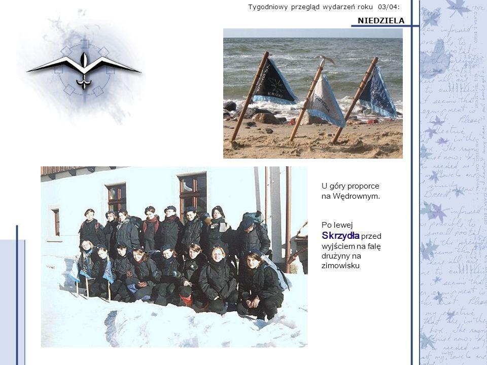 Tygodniowy przegląd wydarzeń roku 03/04: NIEDZIELA U góry proporce na Wędrownym. Po lewej Skrzydła przed wyjściem na falę drużyny na zimowisku