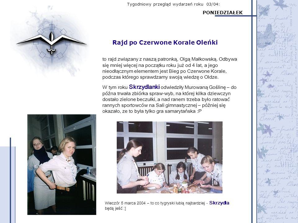 Tygodniowy przegląd wydarzeń roku 03/04: PONIEDZIAŁEK Rajd po Czerwone Korale Oleńki to rajd związany z naszą patronką, Olgą Małkowską. Odbywa się mni