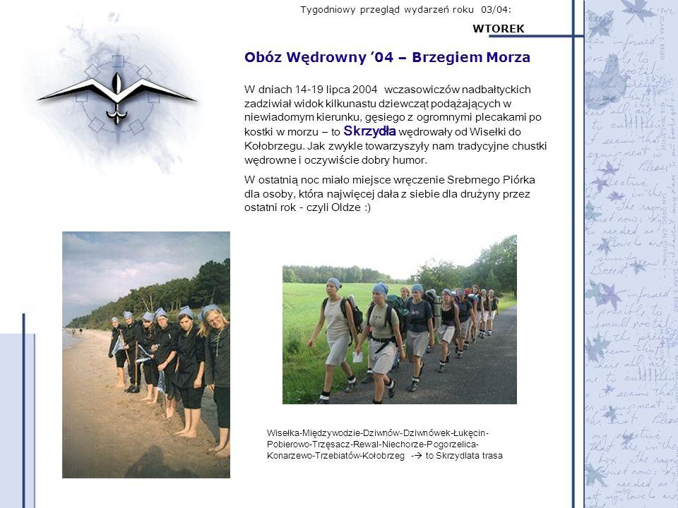 Tygodniowy przegląd wydarzeń roku 03/04: WTOREK Obóz Wędrowny 04 – Brzegiem Morza W dniach 14-19 lipca 2004 wczasowiczów nadbałtyckich zadziwiał widok
