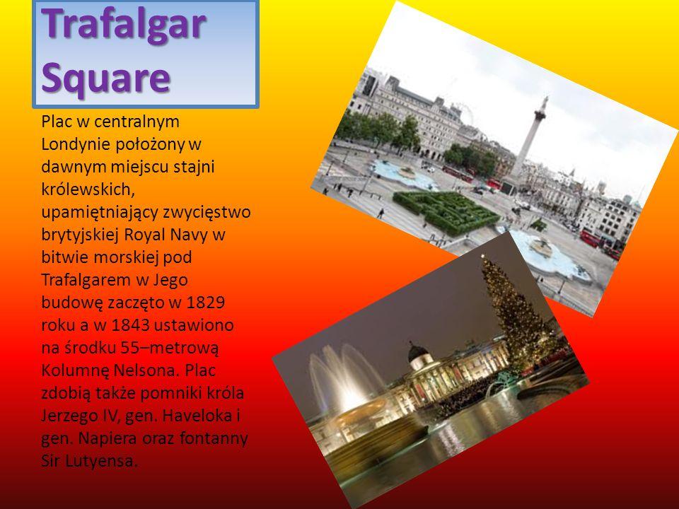 Trafalgar Square Plac w centralnym Londynie położony w dawnym miejscu stajni królewskich, upamiętniający zwycięstwo brytyjskiej Royal Navy w bitwie mo