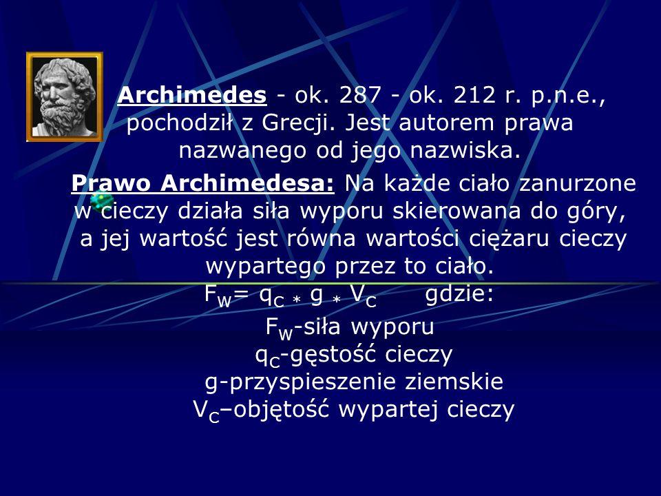 Archimedes - ok. 287 - ok. 212 r. p.n.e., pochodził z Grecji. Jest autorem prawa nazwanego od jego nazwiska. Prawo Archimedesa: Na każde ciało zanurzo
