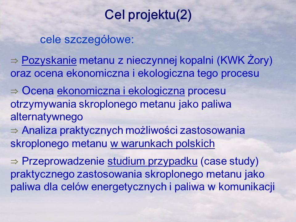Cel projektu(2) cele szczegółowe: Pozyskanie metanu z nieczynnej kopalni (KWK Żory) oraz ocena ekonomiczna i ekologiczna tego procesu O cena ekonomicz